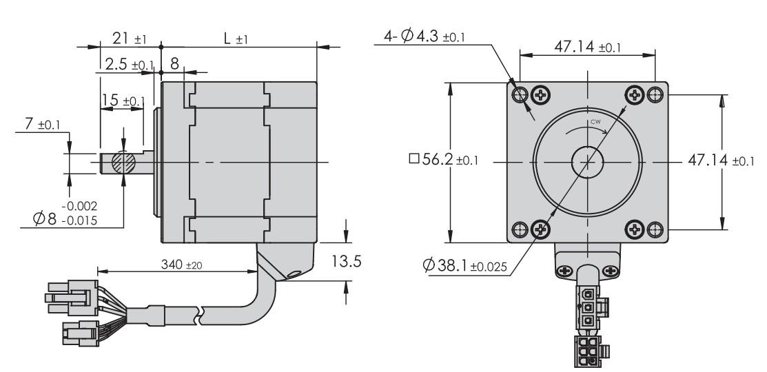 Abmessungen BLDC Nmea 23 56x56mm ,moons 60 watt 120 watt 180 watt MOONS BLDC MOTOR NEMA23