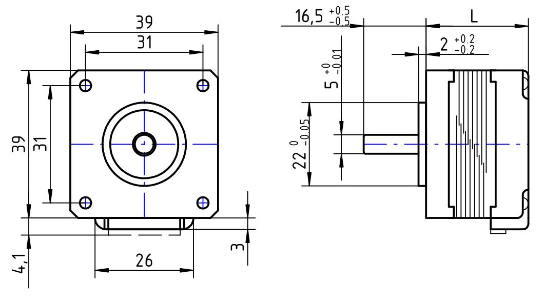 Abemessung Hybrid Schrittmotor_KH39-Serie Nidec Servo