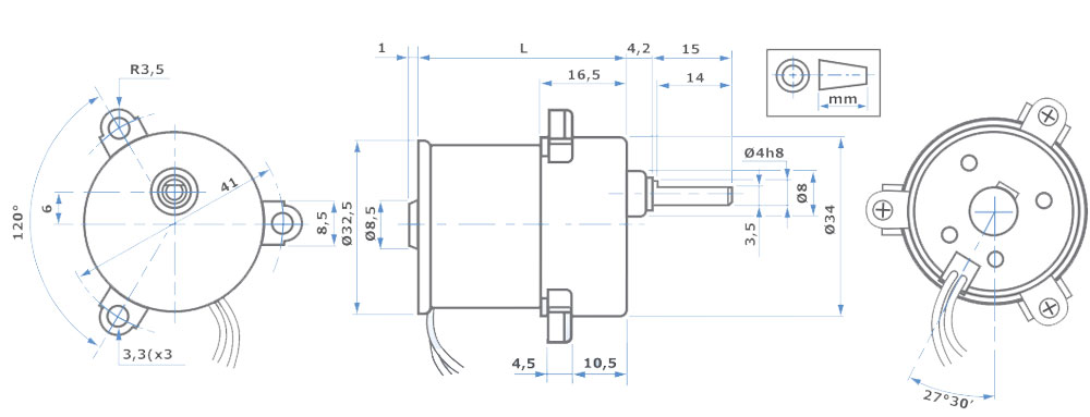 DC Getreibemotor MicroMotors Abmessungen