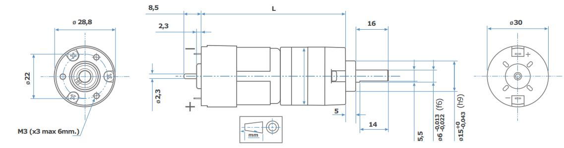 PS150 Zeichnung Motor MicroMotors PS150 DC Motor Planetengetriebe