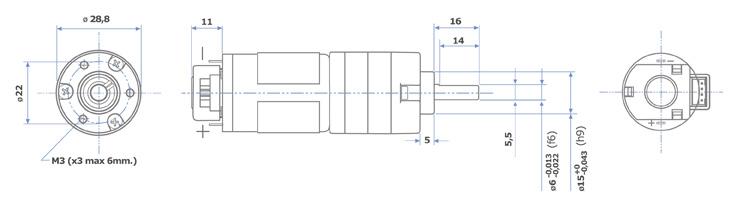 PS150 DC Getriebemotor mit Encoder
