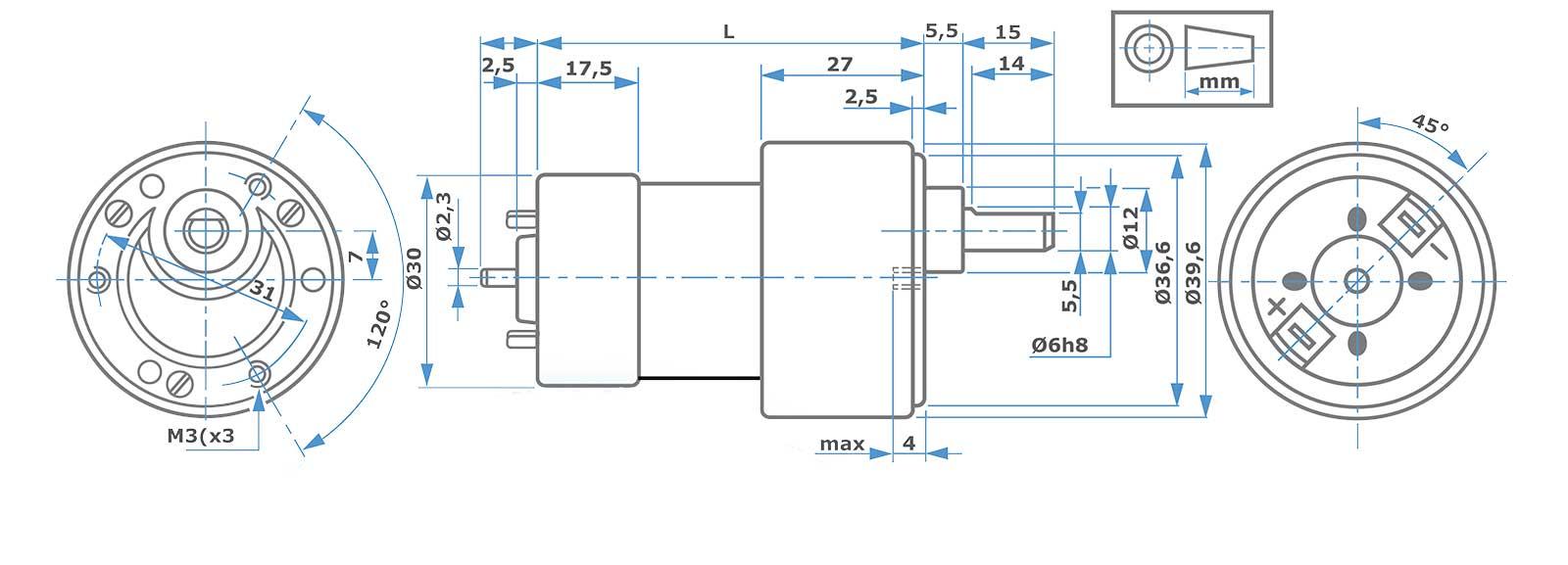 Zeichnung RH158 RH159 MicroMotors color-technik Antriebstechnik GmBh