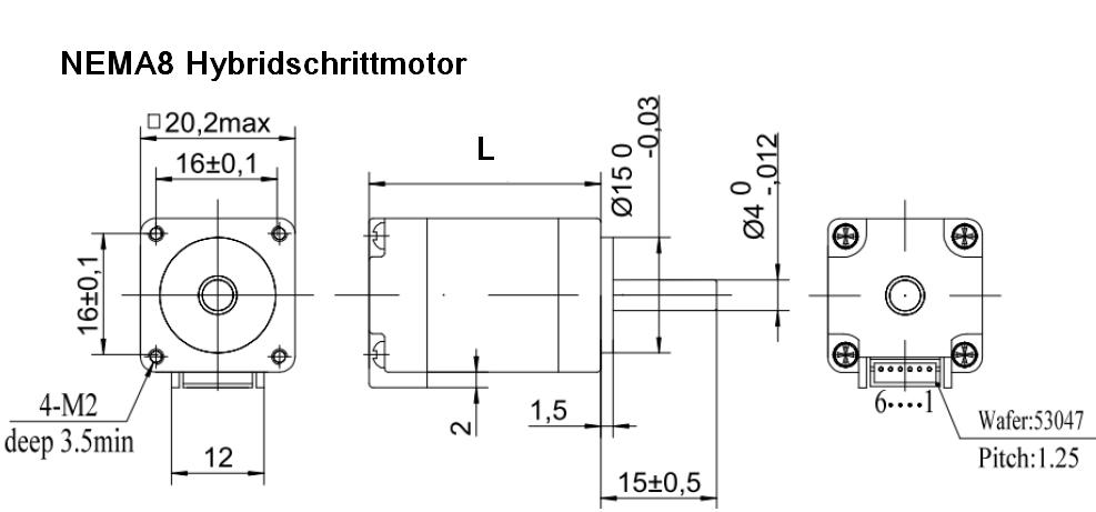 HYBRID SCHRITTMOTOR NEMA8 20x20mm