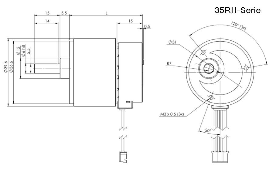 RH Getriebe mit Schrittmotor für peristaltikpumpe