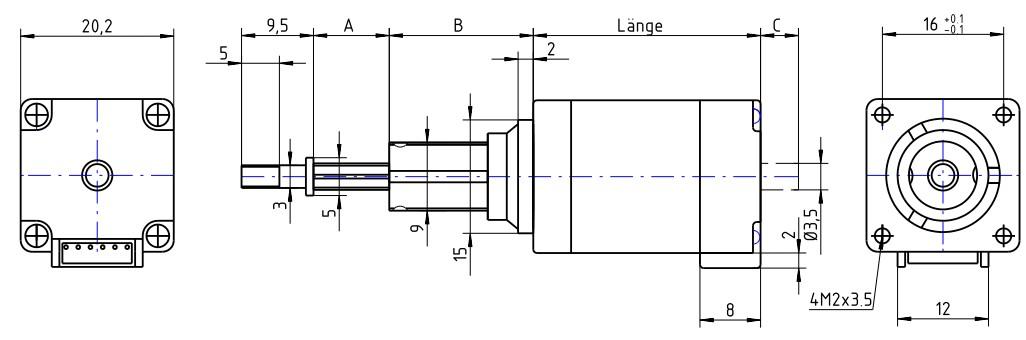 Hybrid SchrittmotorLinearaktuator NEMA 8 20x20mm Captive Bauform geführte Spindel