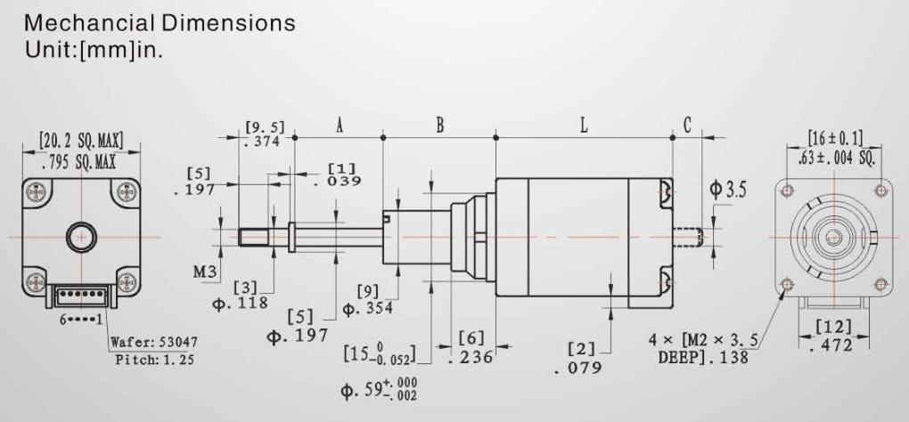 Abmessungen 8HY-Captiver Linearaktuator DLA 20x20mm