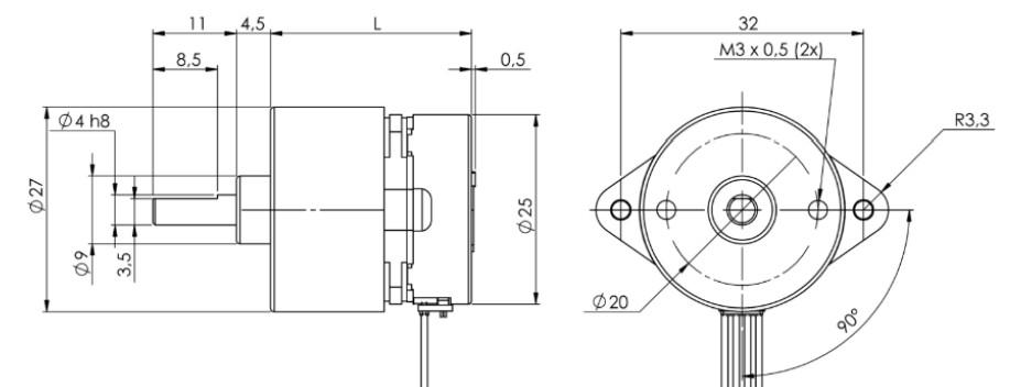 stegia 25PM Stepper mit Ø 27mm Getriebe PM Schrittmotor mit Getriebe