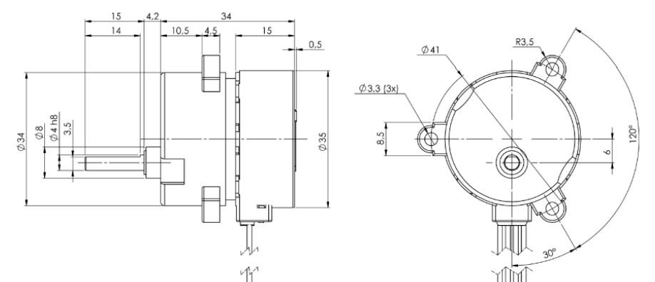 Stegia 35PM Stepper mit Ø 41mm Getriebe MicroMotors PM Schrittmotor mit Getriebe