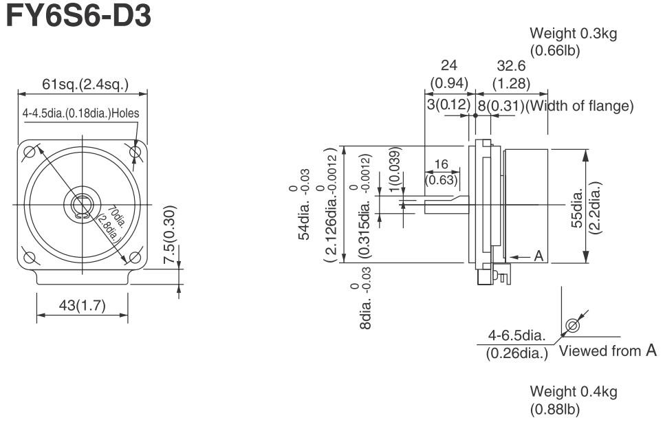 Abmessungen FY6S6 BLDC Niedec Servo 6 Watt