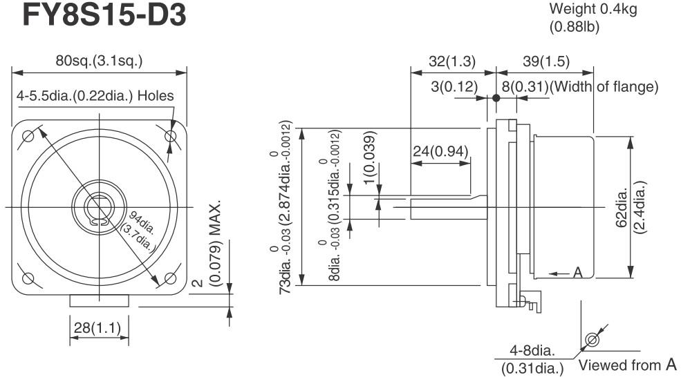 Abmessungen FY8S15 BLDC Niedec Servo 15 Watt