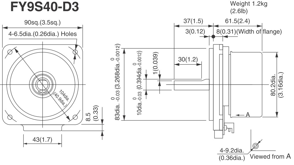 Abmessungen FY9S40 BLDC Nidec Servo 40 Watt