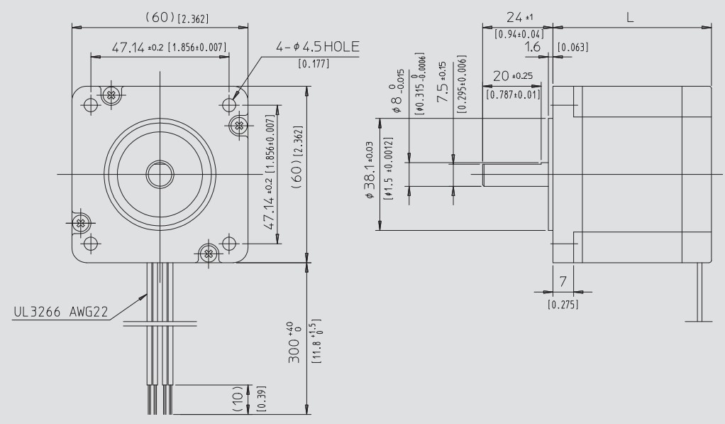 Abmessungen KH60-Serie mit 47.14mm Bohrungsabstand Hybrid Schrittmotor NidecServo Nema 24 60x60mm