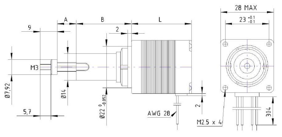 Hybrid SchrittmotorLinearaktuator NEMA 11 28x28mm