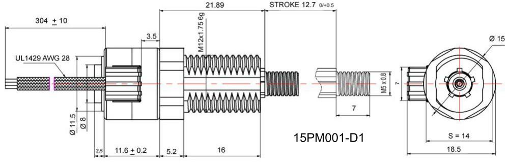 Zeichnung 15PM001-D1 captiver Linearkatuator SMOOTH