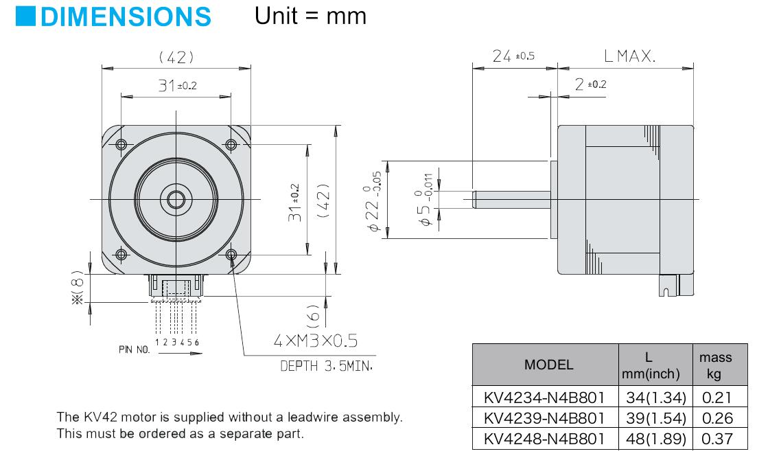 Nidec Servo high Speed Hybrid Schrittmotor KV42