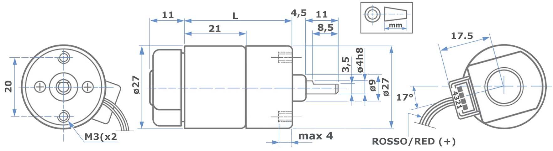Abmessungen L149-2S DC Motor inkl. Encoder