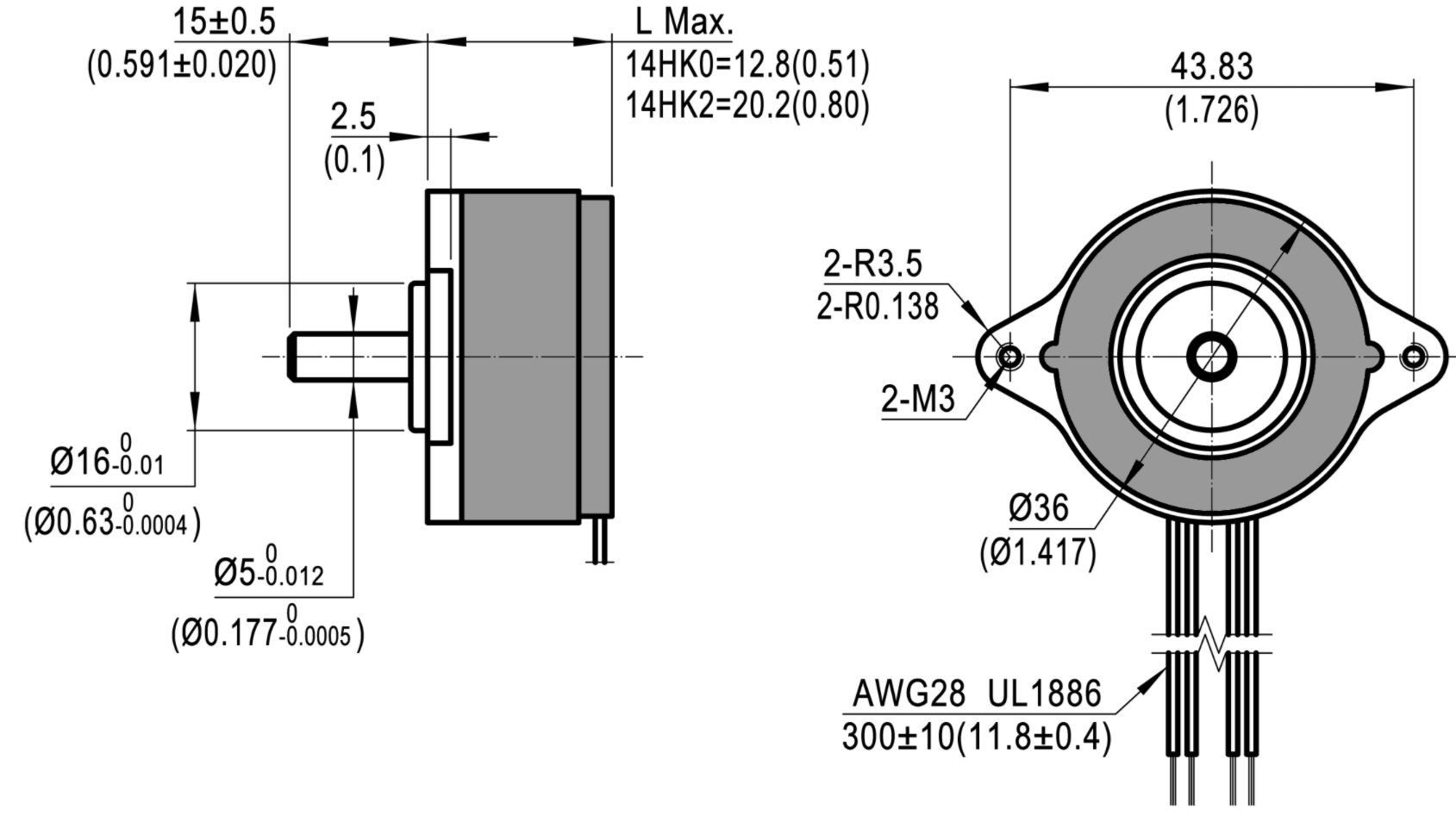 154HK Maße flache Bauform 0.9° Schrittwinkel