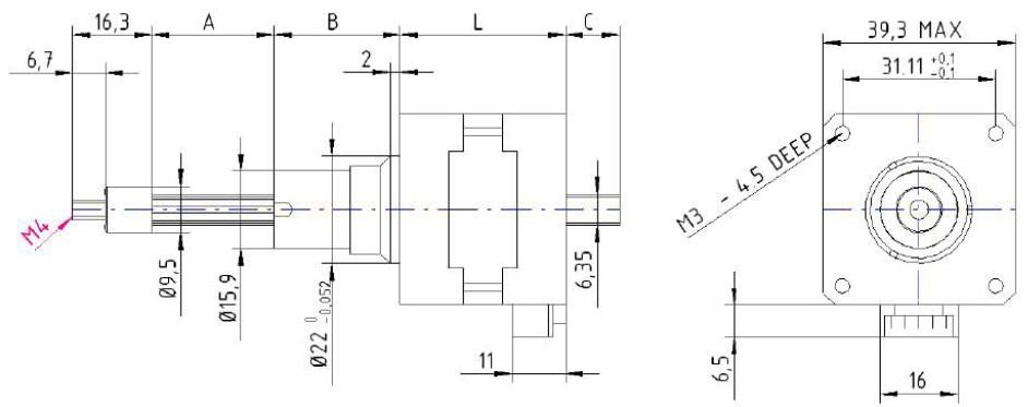 Nema 16 39x39m,m Hybrid Linearaktuator captive