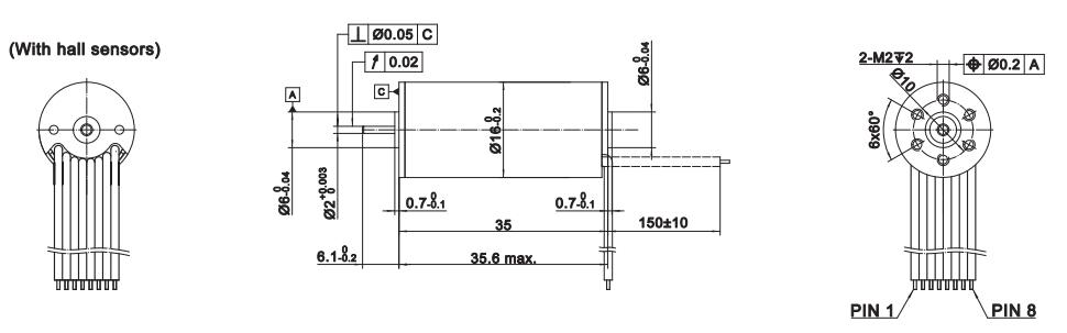 Ironless BLDC Motor 12 / 25 Watt 16mm Moons